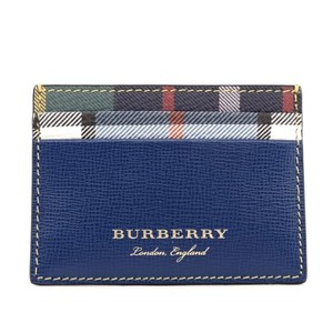 Burberry BURBERRY LONDON LEATHER CREATURE APPLIQUE SANDON BLUE CARD CASE WALLET