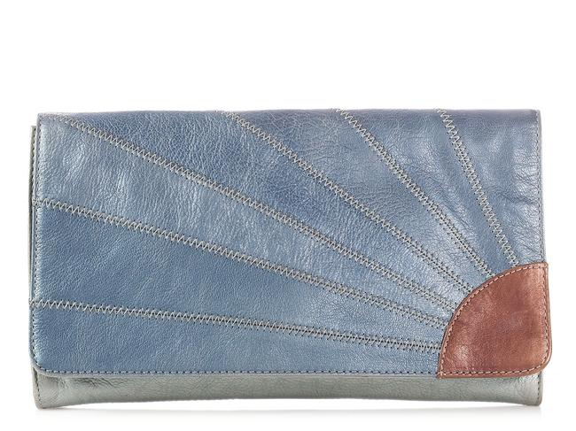 Item - Metallic Blue And Silver Leather Clutch