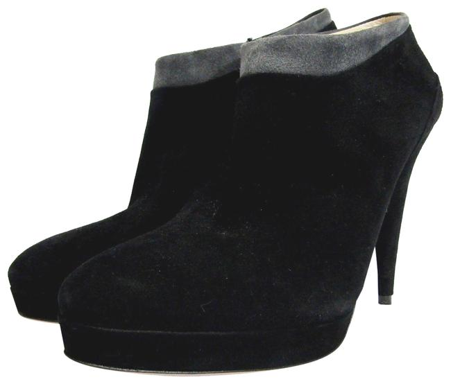 Prada Black Grey Pyramid 7.5 Suede Platform Ankle Trim Boots/Booties Size EU 37.5 (Approx. US 7.5) Regular (M, B) Prada Black Grey Pyramid 7.5 Suede Platform Ankle Trim Boots/Booties Size EU 37.5 (Approx. US 7.5) Regular (M, B) Image 1