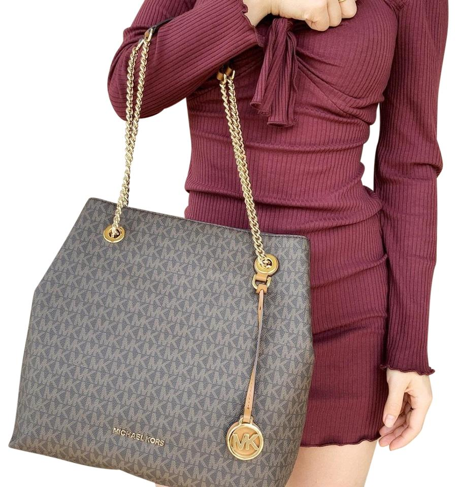 09798684977c Michael Kors Jet Set Chain Large Shoulder Mk Signature Acorn Brown ...