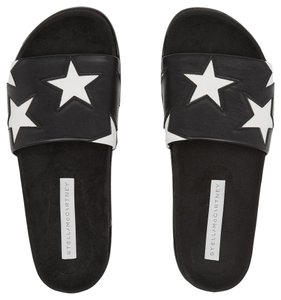 Stella McCartney Faux Leather Slides Star Black White Flats