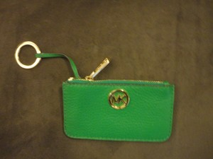 Michael Kors Leather Coin Purse Card Case Key Ring Wristlet in True Green