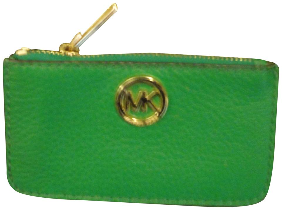 2cf965fbbd45b2 Michael Kors Leather Coin Purse Card Case Key Ring Wristlet in True Green  Image 0 ...