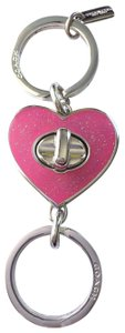 Coach NWT Coach Glitter Pink Heart Valet Key Chain Key Ring Double Ring