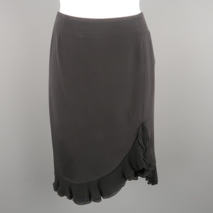 Escada Ruffle A-line Knee Skirt Black