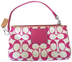 Coach Silver Hardware Wristlet in White and Pink