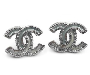 Chanel Chanel Grey CC Blue Enamel Piercing Earrings