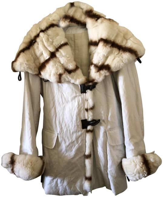 Item - White With Genuine Rabbit Trim Coat Size 4 (S)