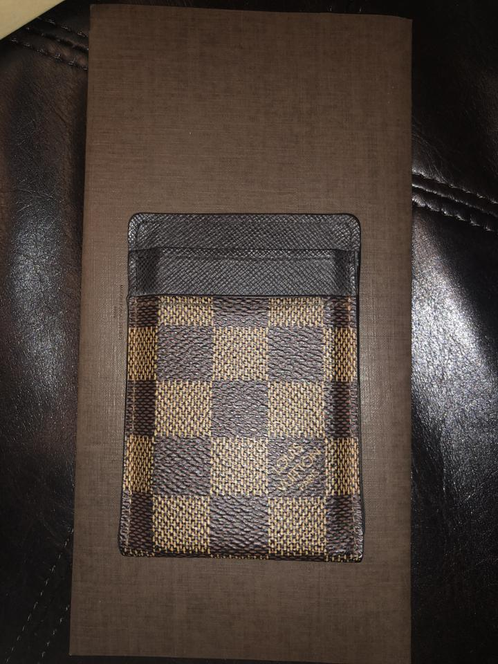 f1f2cb2c14 Louis Vuitton Ebene Lv Damier Money Clip Card Holder Wallet 23% off retail