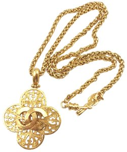 Chanel Chanel Vintage 24K Gold Plated Filigree CC Cross Long Necklace