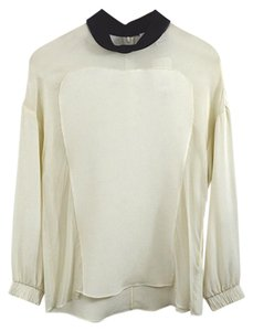 3.1 Phillip Lim Fall Winter Holiday Longsleeve Sheer Top Black/Ivory