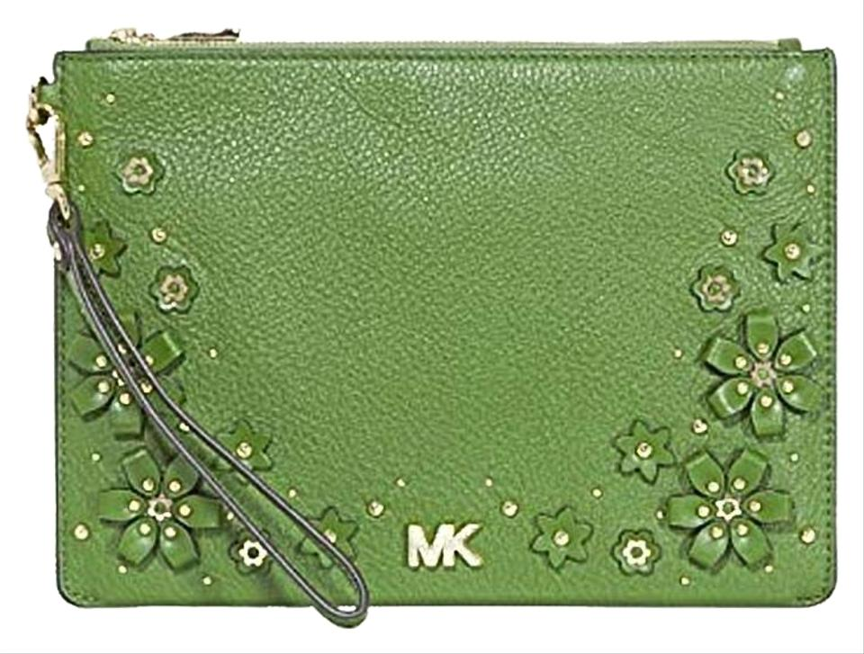 b280f688800b Michael Kors Floral Embellished Pouch True Green Leather Wristlet ...