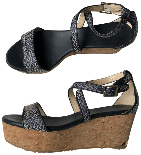Item - Navy and White Woven Leather Portia Wedges Size US 8.5 Regular (M, B)