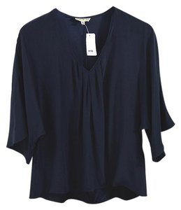 Annie Griffin Fall Winter Holiday Silk Rayon Top Navy