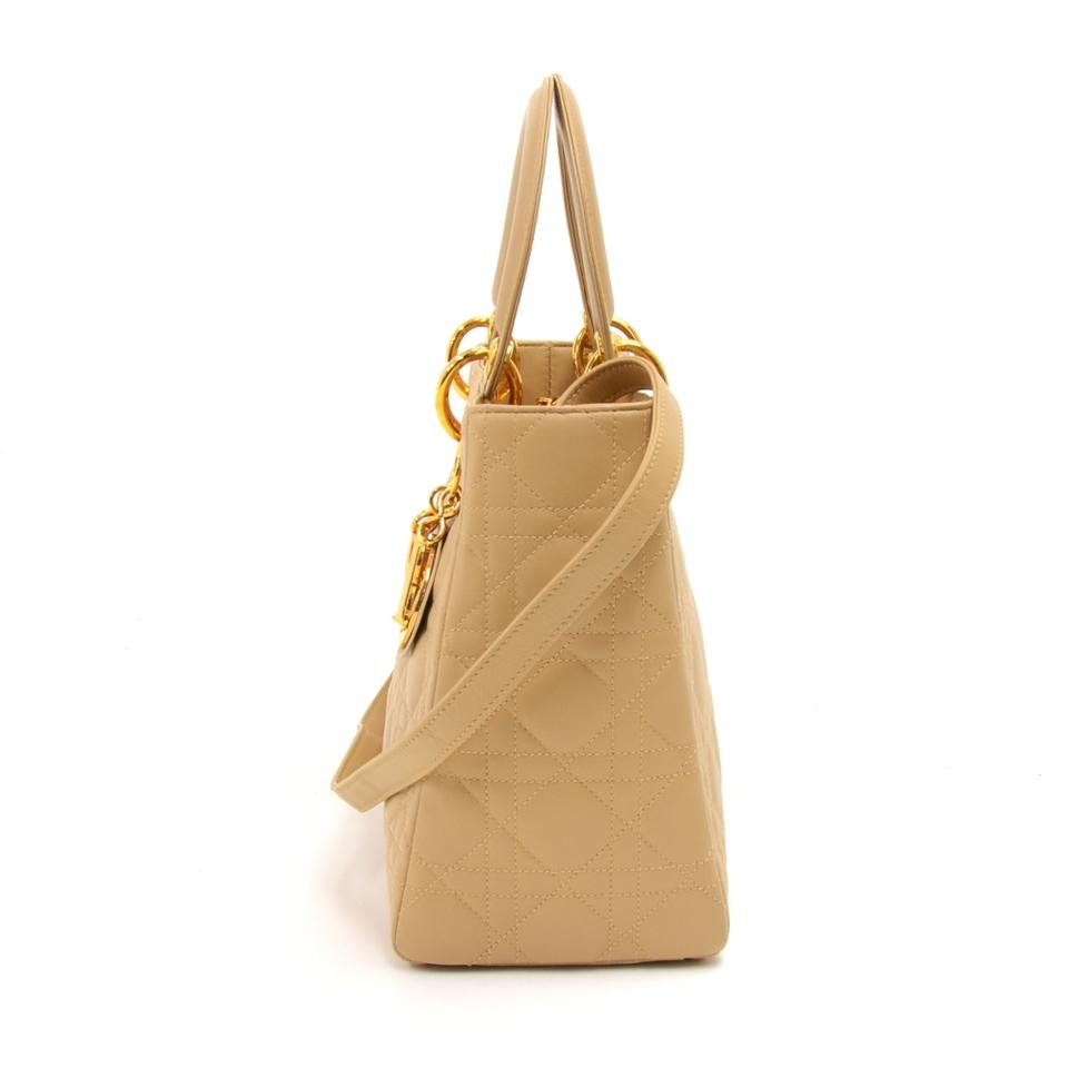 52d00560a9c7 Dior Lady Dior Vintage Christian Medium Quilted Cannage Beige Leather Tote  - Tradesy