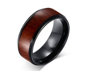 Black/Brown Nwot 2 Tone Ladies Comfort Fit Ring Men's Wedding Band