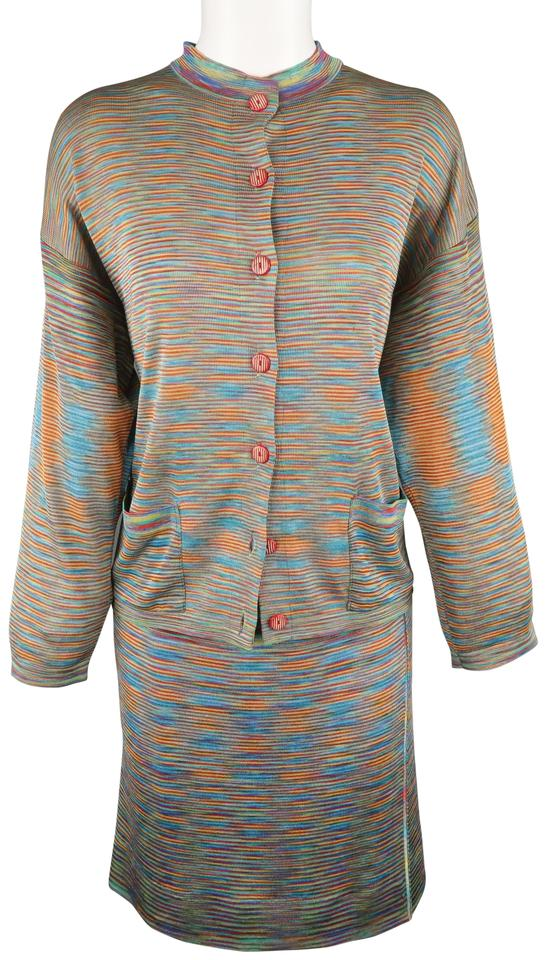 174be5d79 Missoni Multi-color Rayon Knit Cardigan Skirt Suit Size 8 (M) - Tradesy