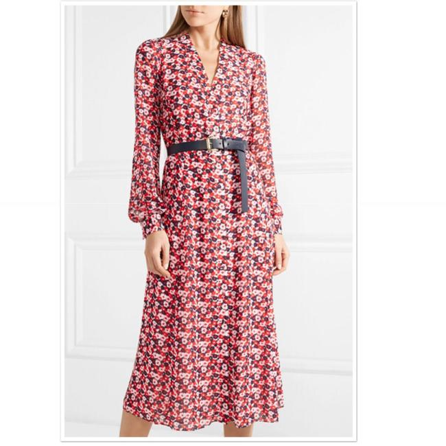 Item - Red White Navy Carnation Georgette Shirtdress Mid-length Short Casual Dress Size 2 (XS)