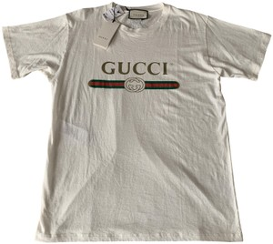 Gucci Logo Embroidered Cotton T Shirt Natural White
