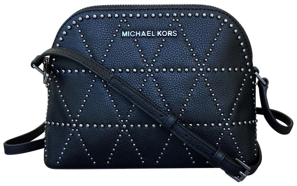 Michael Kors Adele Medium Dome Emmy Cindy Black Leather Cross Body ... dc1e8fe43c27b
