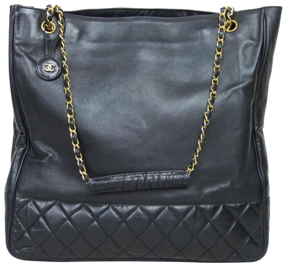 65784ef0dd29 Chanel Shopping Vintage Jumbo Xl Maxi Tote Gst W/Double Strap Black ...