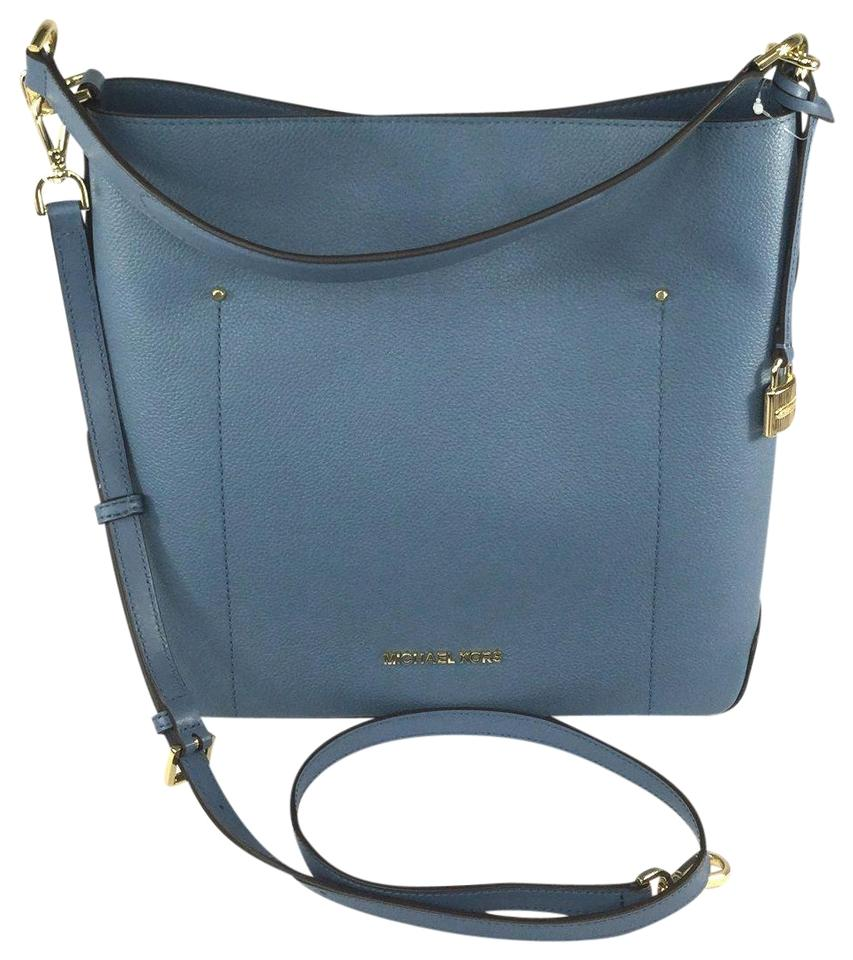 9fa3bb4844a1 Michael Kors Hayes Large Bucket Pebble Crossbody Purs Denim Blue Leather  Shoulder Bag