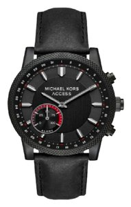 Michael Kors Michael Kors Unisex Scout Black Leather Hybrid Smartwatch MKT4025
