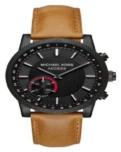 Michael Kors Michael Kors Men's Scout Black IP Brown Leather Smartwatch MKT4026