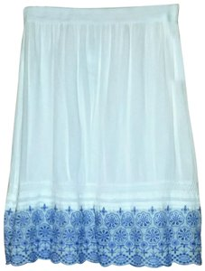 Studio West Stretch Waist Eyelet Clothing Skirt White/Blue