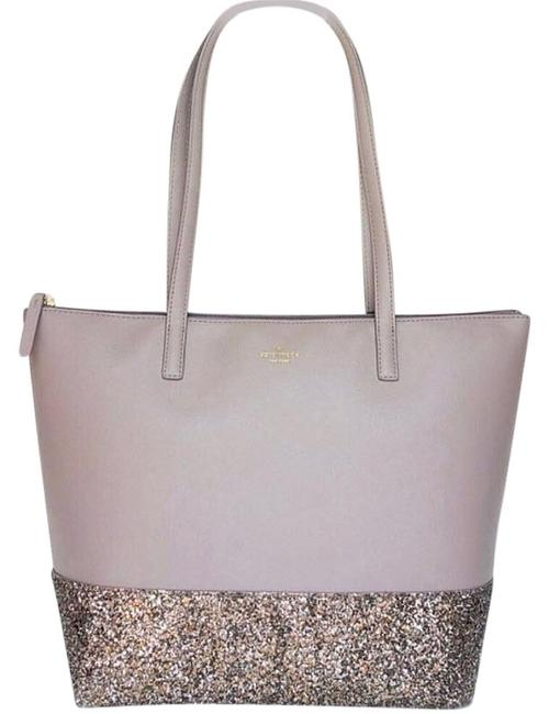 Item - Greta Court Penny Glitter Large Top Zip Glitter Gray Leather Tote