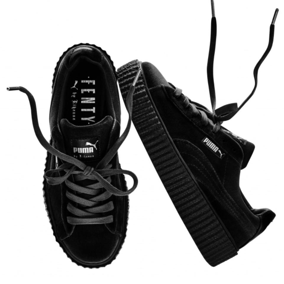 FENTY PUMA by Rihanna Black Velvet Creeper Sneakers Size US 7.5 ... 9cc017408