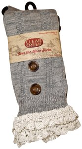 Clear Creek Lace Buttons Trim Long Boot Socks