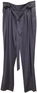 Ellen Tracy Pleated Waistline Detachable Sash Belt Side Hidden Zip Tapered Ankle Crepe Fabric Trouser Pants Black-Navy