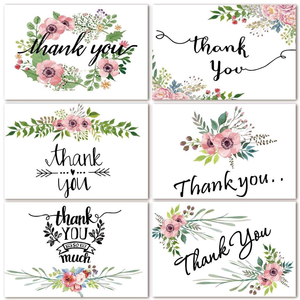 Green 48 Bulk Thank You Cards Floral Flower Thank You Notes For