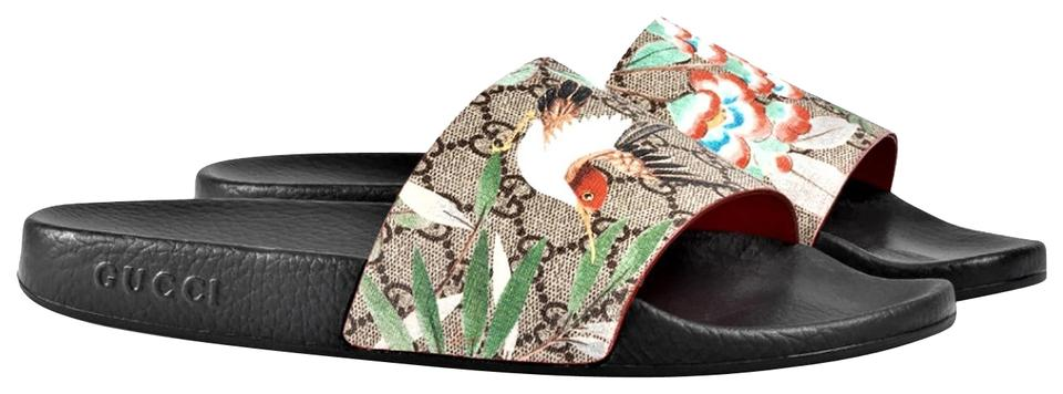 35b11c3334a Gucci Multicolor Women s Gg Supreme Tian Printed Slides Sandals Size ...