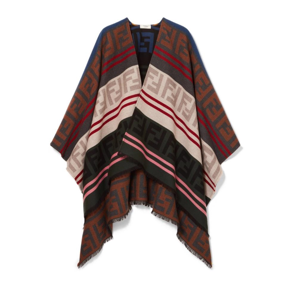 6359945b763 Fendi Ff Logo Wool and Silk Jacquard Poncho Scarf/Wrap - Tradesy