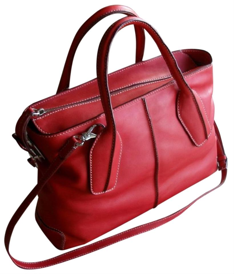 47dbe2fc5bfbb Tod's Bag Styling Style Media Bauletto Rtl Red Leather Tote - Tradesy