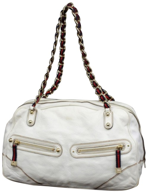 Item - Boston Princy 233155 White Leather Shoulder Bag