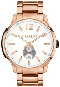 Coach Coach Mens Bleecker Rose Gold-Tone Stainless Steel Bracelet Watch 46mm