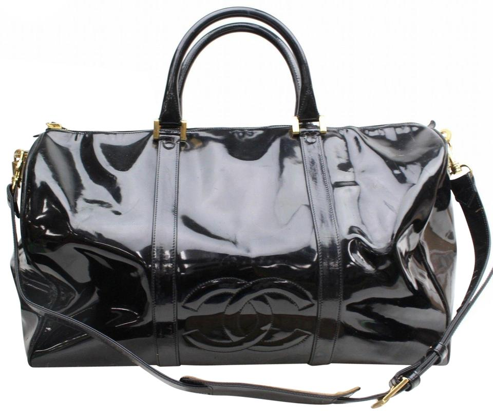 af5899e731f Chanel Duffle Cc Logo Boston with Strap 869038 Black Patent Leather  Weekend/Travel Bag 59% off retail