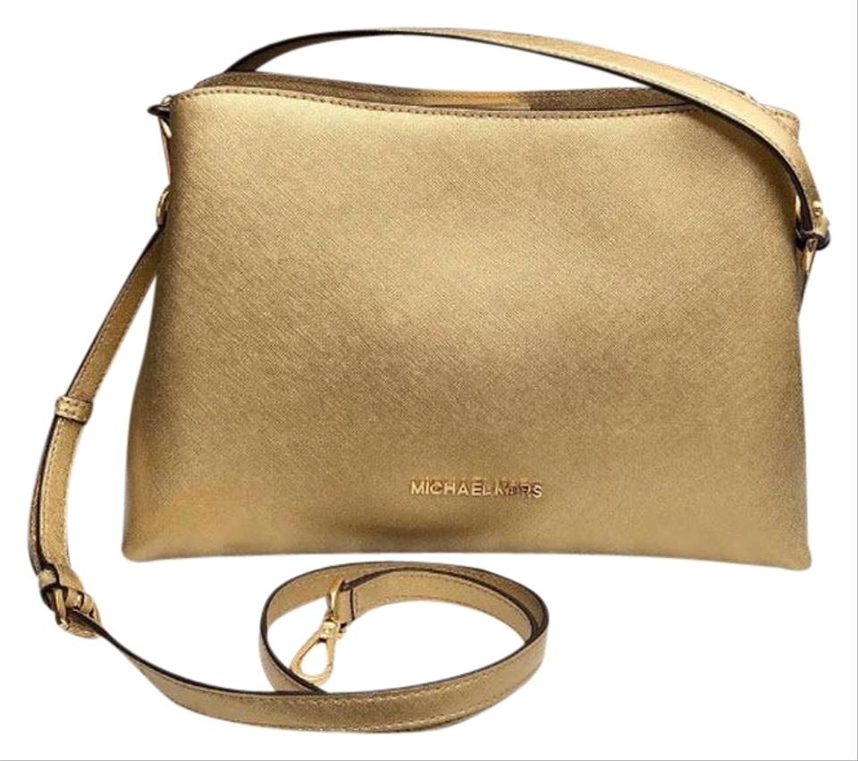 fdb0fd03d9549 Michael Kors Sofia Large Saffiano Portia Gold Leather Satchel - Tradesy