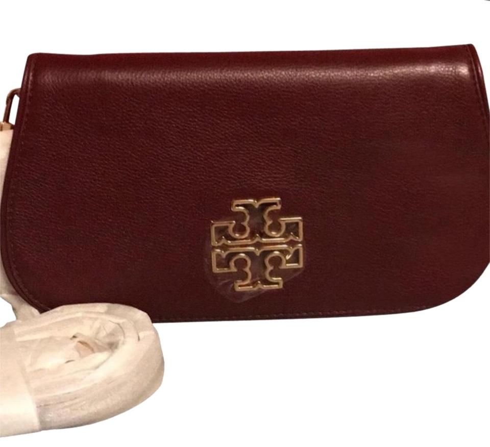 ee76f856b58e Tory Burch Britten Imperial Garnet Leather Clutch - Tradesy