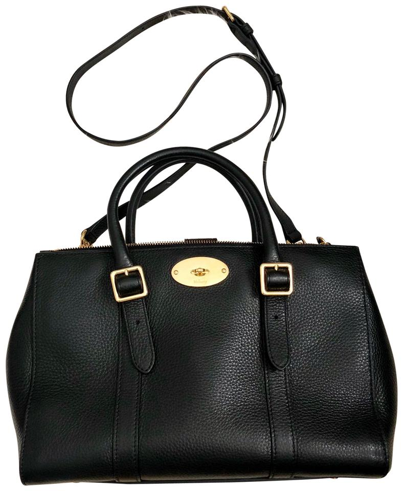 8e243ef41b Mulberry Small Bayswater Double Zip Tote Black Leather Satchel - Tradesy