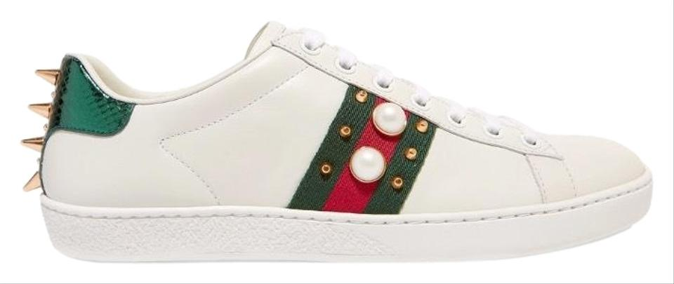 22b0eff4ecf Gucci Ace Spikes and Pearl Embellished Leather Sneakers Sneakers ...