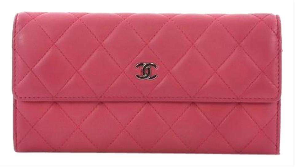 0817398ec726 Chanel Cc Gusset Flap Wallet Quilted Long Pink Lambskin Clutch - Tradesy