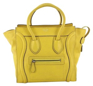 Céline Luggage Grainy Tote in Yellow