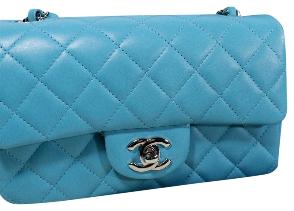 4a6f2ea084a Chanel Classic Flap Mini Rectangular Blue Lambskin Leather Cross ...