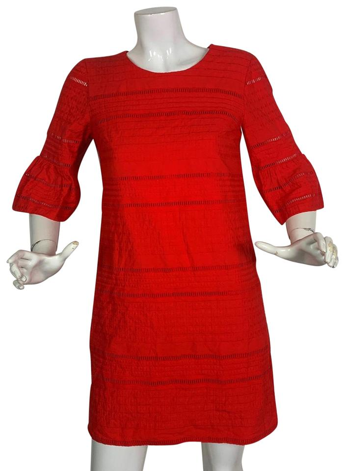 241bd492994 J.Crew Red Shift Cotton Textured Eyelet Bell Sleeves Short Casual ...