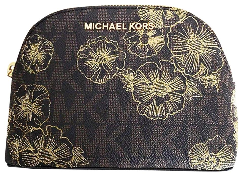 81ff9cdfcc74 Michael Kors Brown Gold Jet Set Travel Pouch Box Floral Large Cosmetic Bag