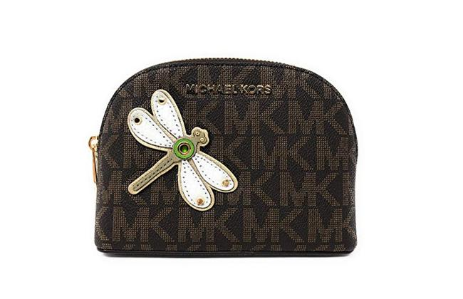 Item - Brown Gold Box Jet Set Travel Pouch Dragon Fly Large Cosmetic Bag